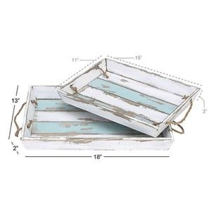 Set of 2 Beach Themed Wood Serving Trays
